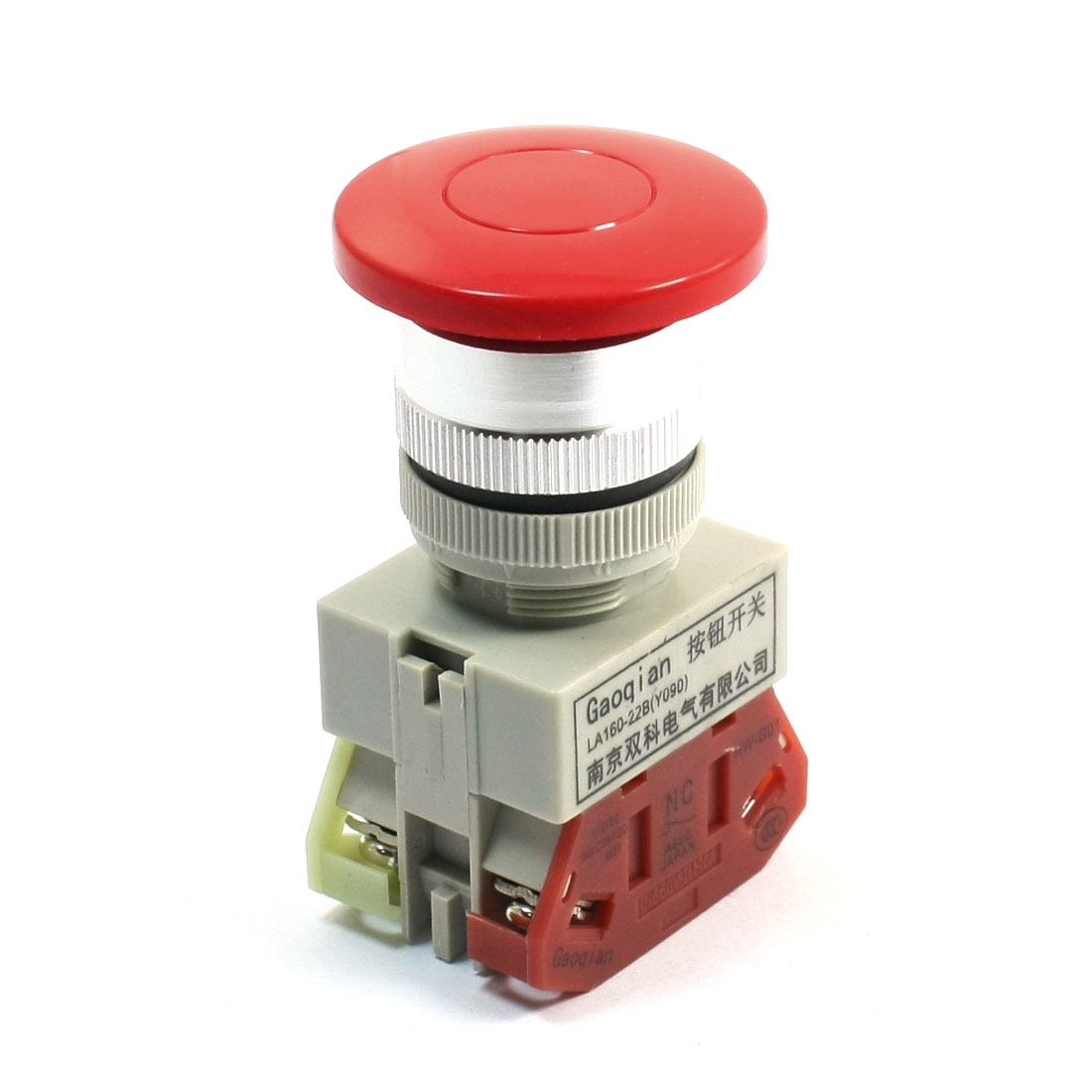 660V Ui 10A Ith DPST Momentary Red Mushroom Head Operator Pushbutton Switch
