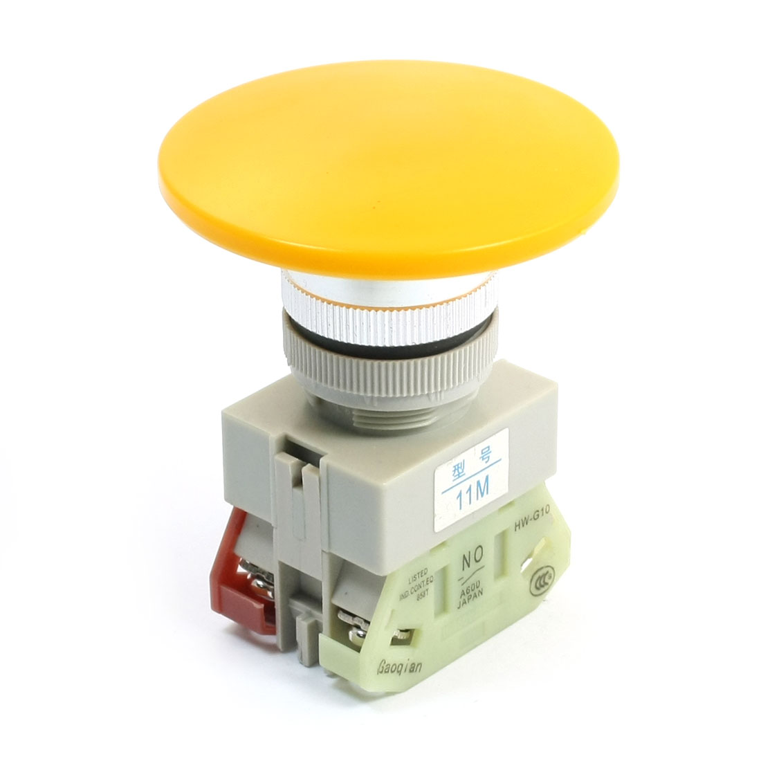 660V 10A DPST Momentary Yellow Mushroom Head Push Button Pushbutton Switch