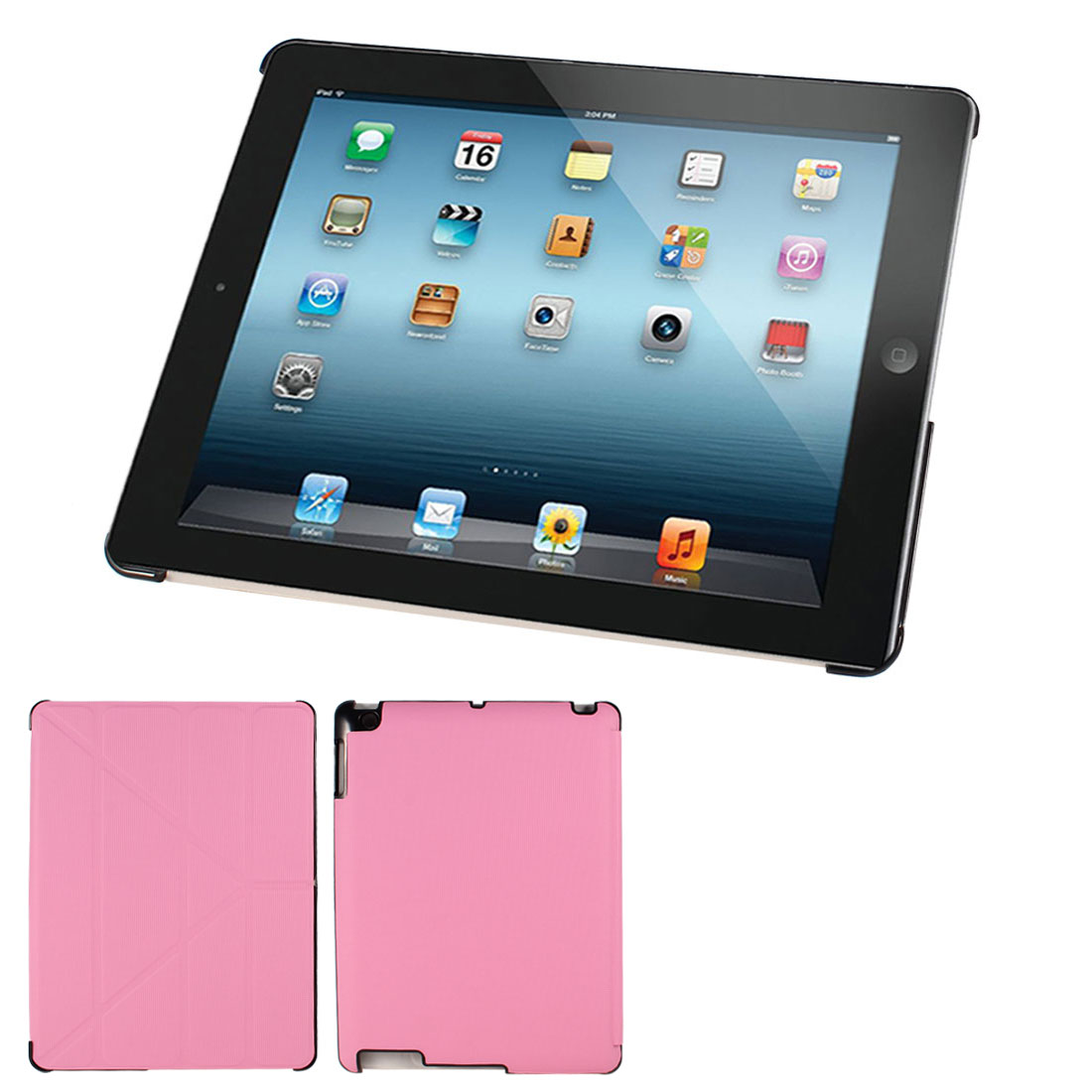 Checkered Print Flip Folio Stand Case Cover Pink for iPad 2 3 4
