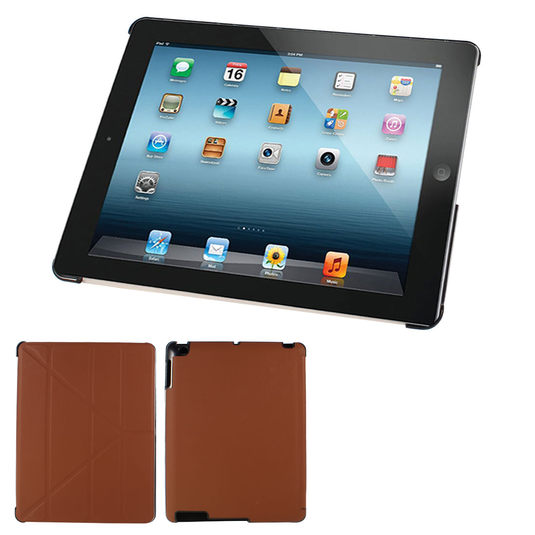 Brown Plaid Print Flip Folio Tablet Case Cover Stand for iPad 2 3 4