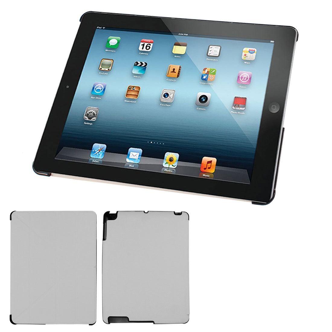 Plaid Prints PU Leather Folio Book Case Cover Stand Gray for iPad 2 3 4