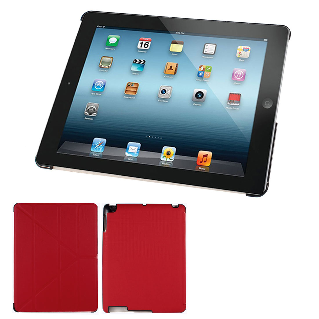 Checkered Prints Folio Book Case Cover Stand Red for Apple iPad 2 3 4