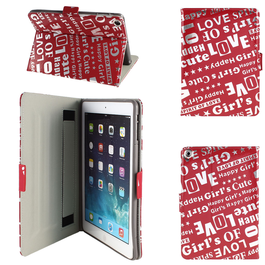 PU Leather Folio Flip Stand Case Cover Red Silver Tone for iPad Air 5