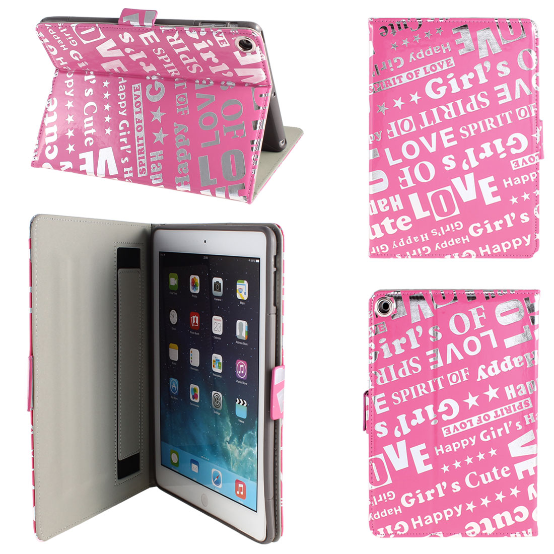 PU Leather Folding Folio Stand Case Cover Pink Silver Tone for iPad Air 5