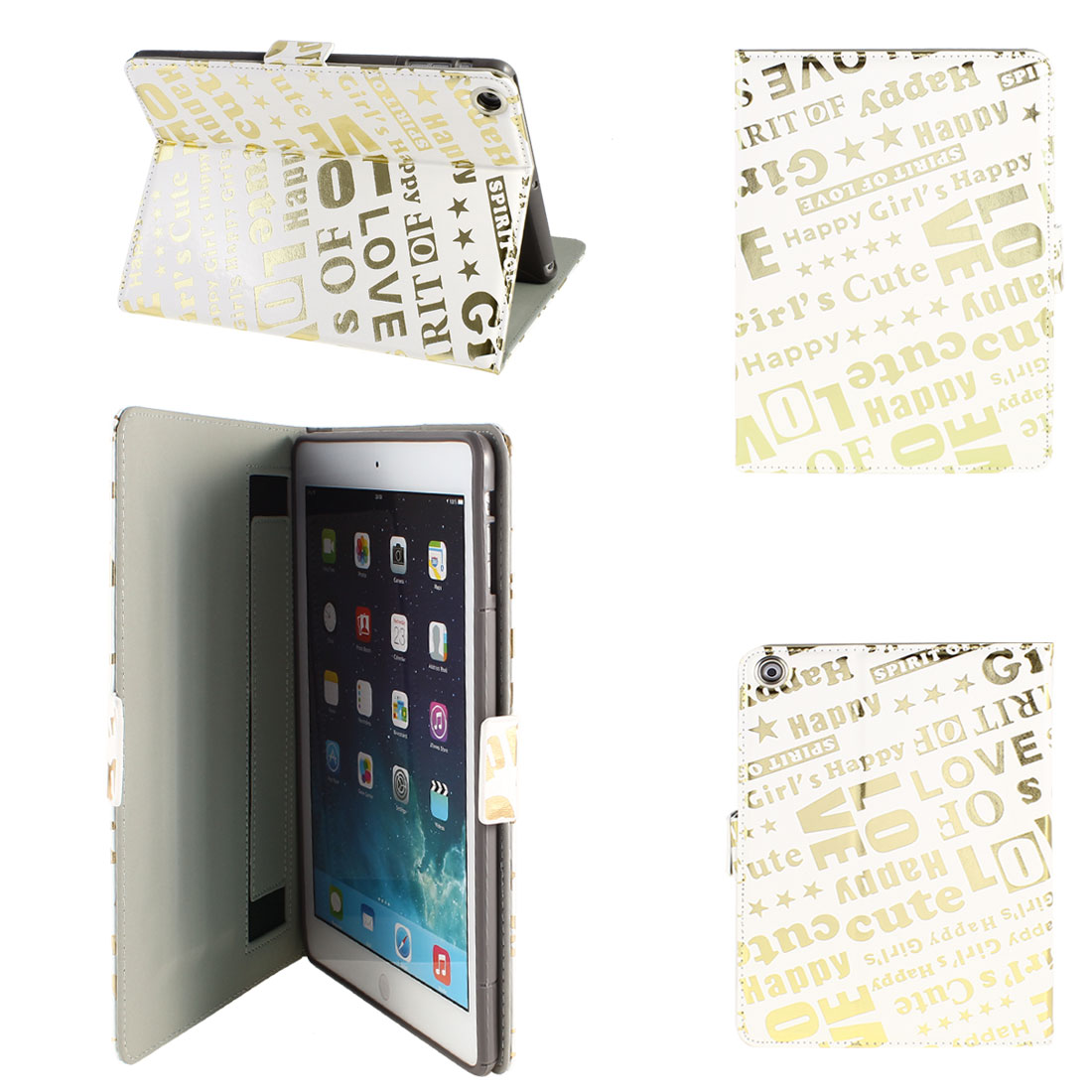 PU Leather Folio Stand Case Cover White Gold Tone for iPad Air 5