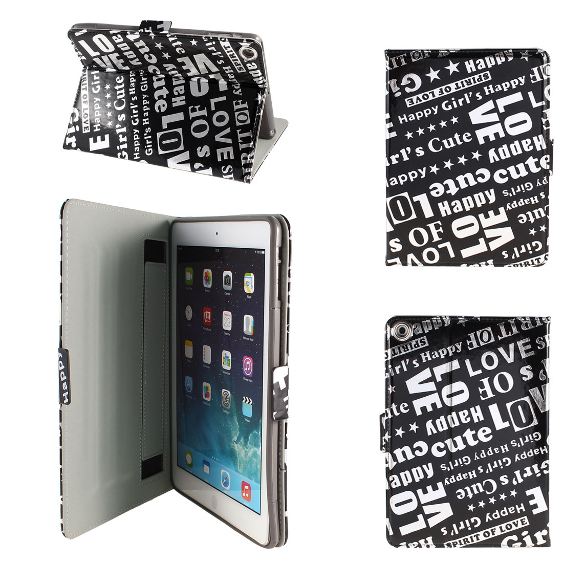 PU Leather Folio Stand Case Cover Black Silver Tone for iPad Air 5