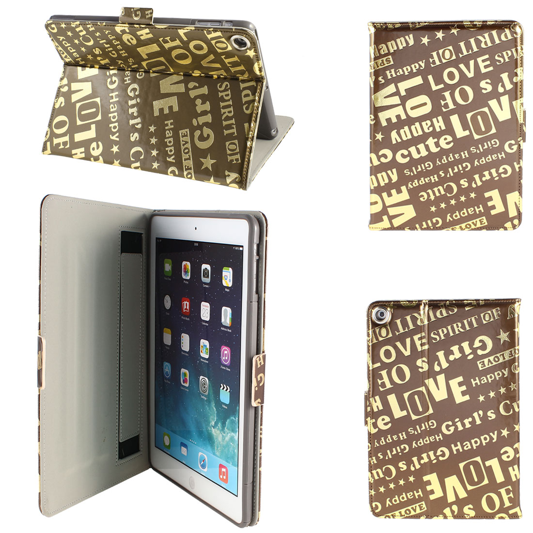 PU Leather Folio Stand Case Cover Brown Gold Tone for iPad Air 5