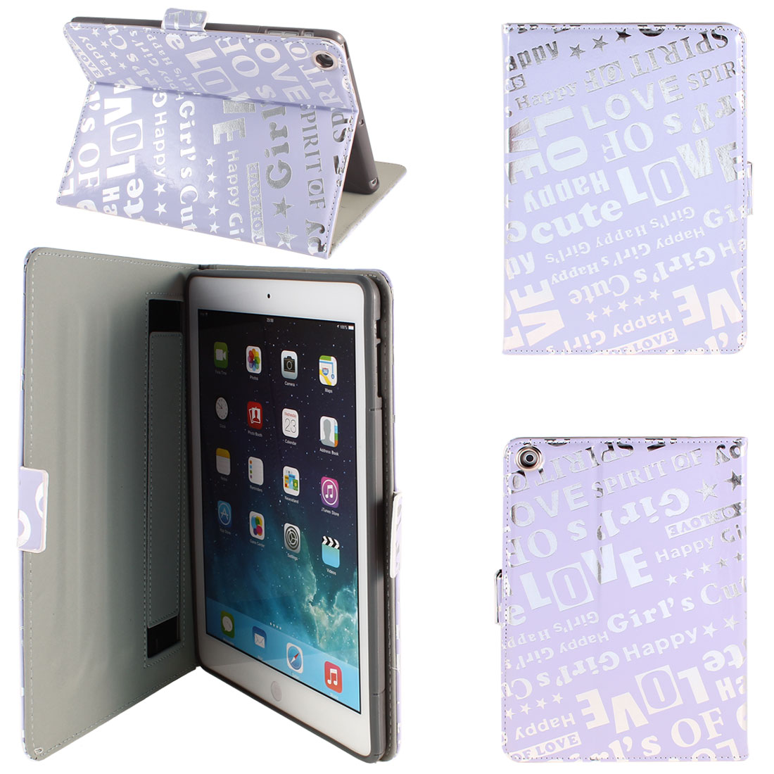 PU Leather Folio Case Stand Light Purple Silver Tone for iPad Air 5