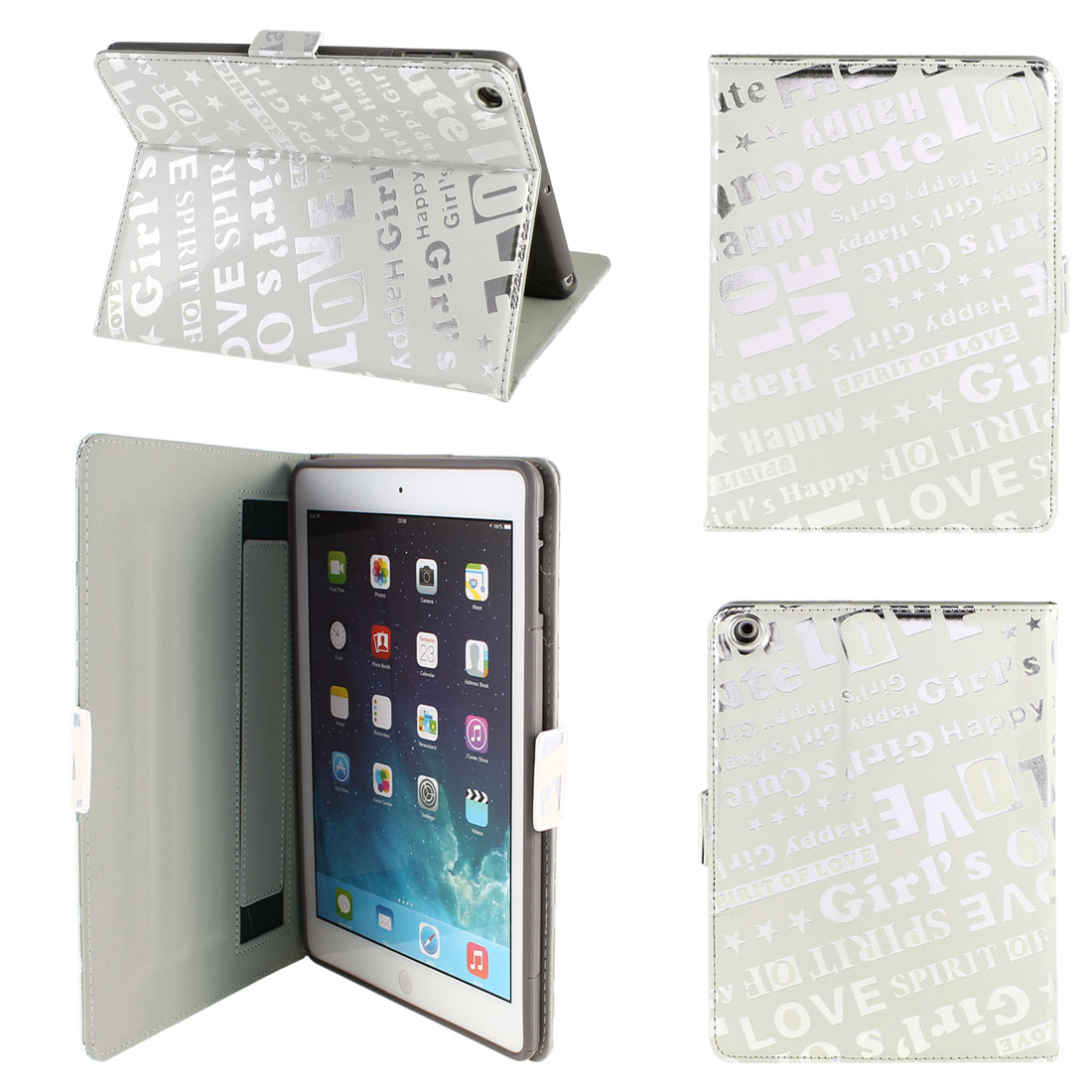 PU Leather Folio Stand Case Skin Cover Gray Silver Tone for iPad Air 5