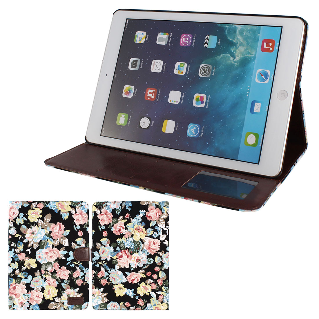 Floral Pattern Magnetic Closure Flip Folio Stand Case Cover for iPad Air 5
