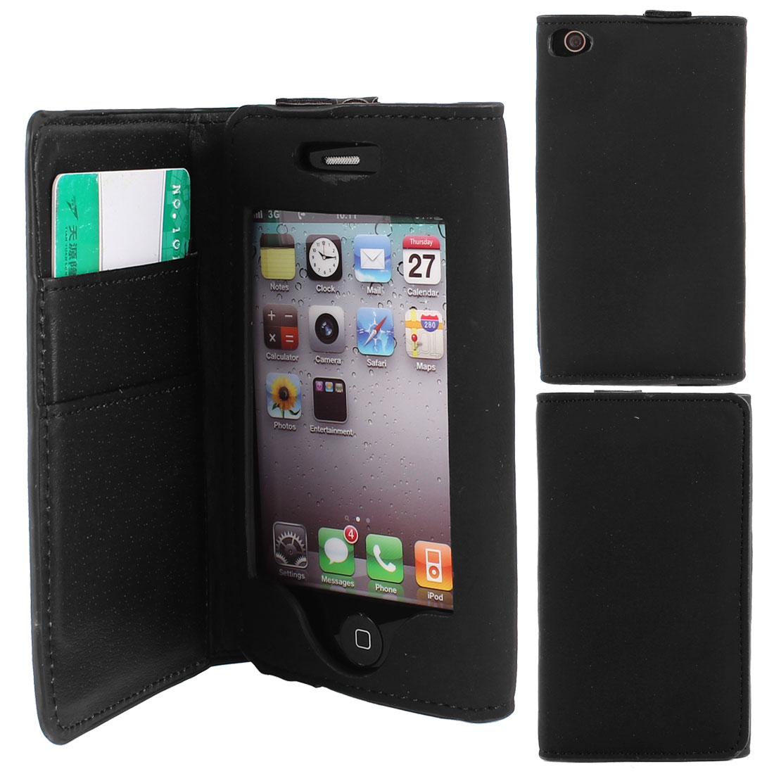 Black PU Leather Magnetic Closure Card Holder Phone Case for iPhone 4 4S