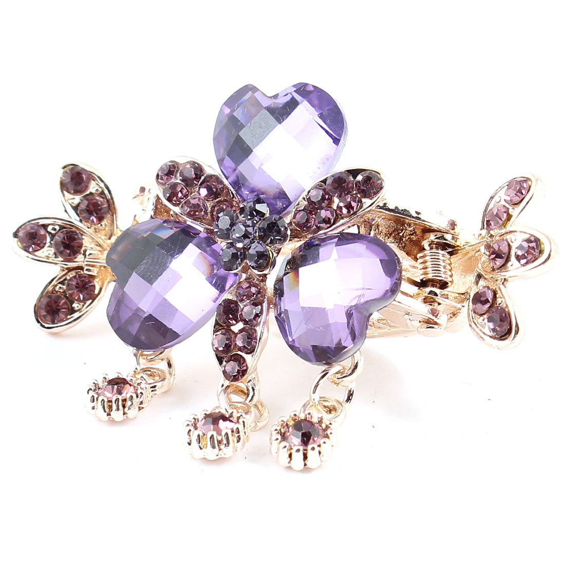 Purple Heart Faux Crystal Decor Claw Design Hair Clamp Clip Copper Color