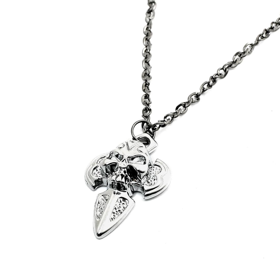 Hook Closure Silver Tone Skull Decor Cross Pendant Link Chain Necklace for Men
