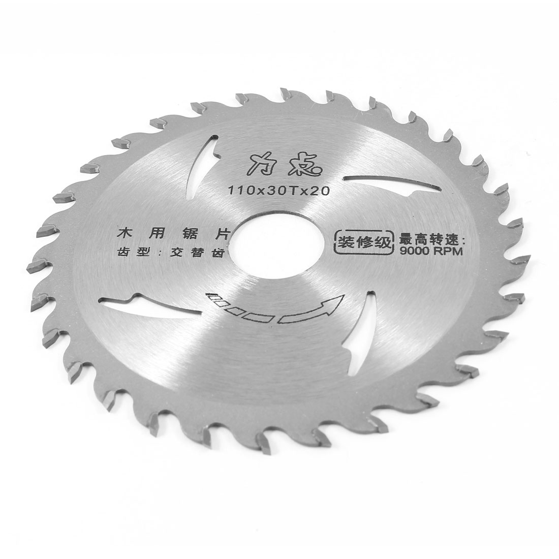 "Silver Tone Wood Cutting Cutter Cutters Saw 4"" Dia 30 Teeth Max 9000 RPM"