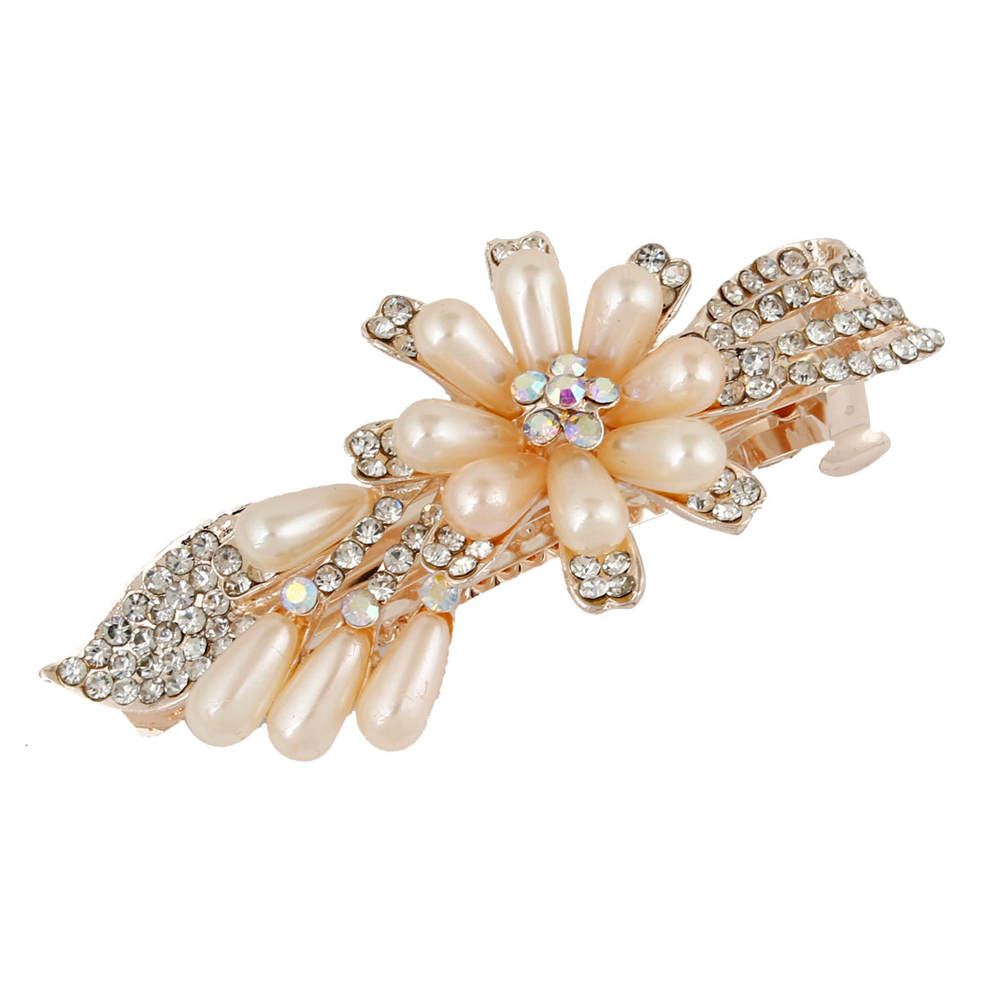 Banquet Shine Rhinestones Barrette French Hair Clip Ornament Ivory for Ladies