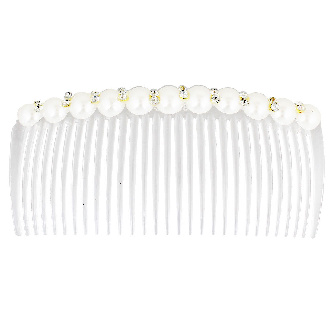 Ladies Rhinestones Inlaid Beads Ornament Narrow Teeth Hair Comb Clip White