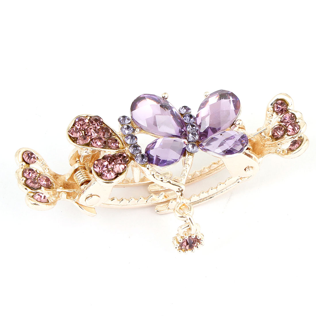 Rhinestones Inlaid Flower Ornament Hair Claw Clip Purple for Ladies