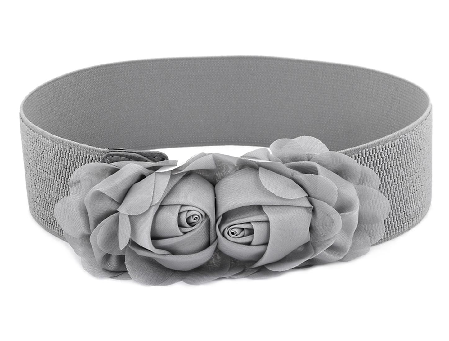 Ladies Gray Double Flower Accent Press Button Elastic Cinch Waist Belt