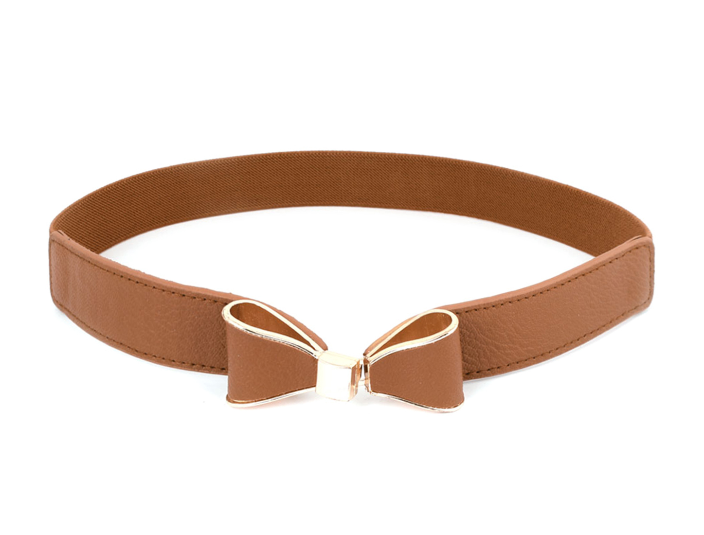 Lady Woman Brown Gold Tone Bowknot Detail Stretch Waistband Belt