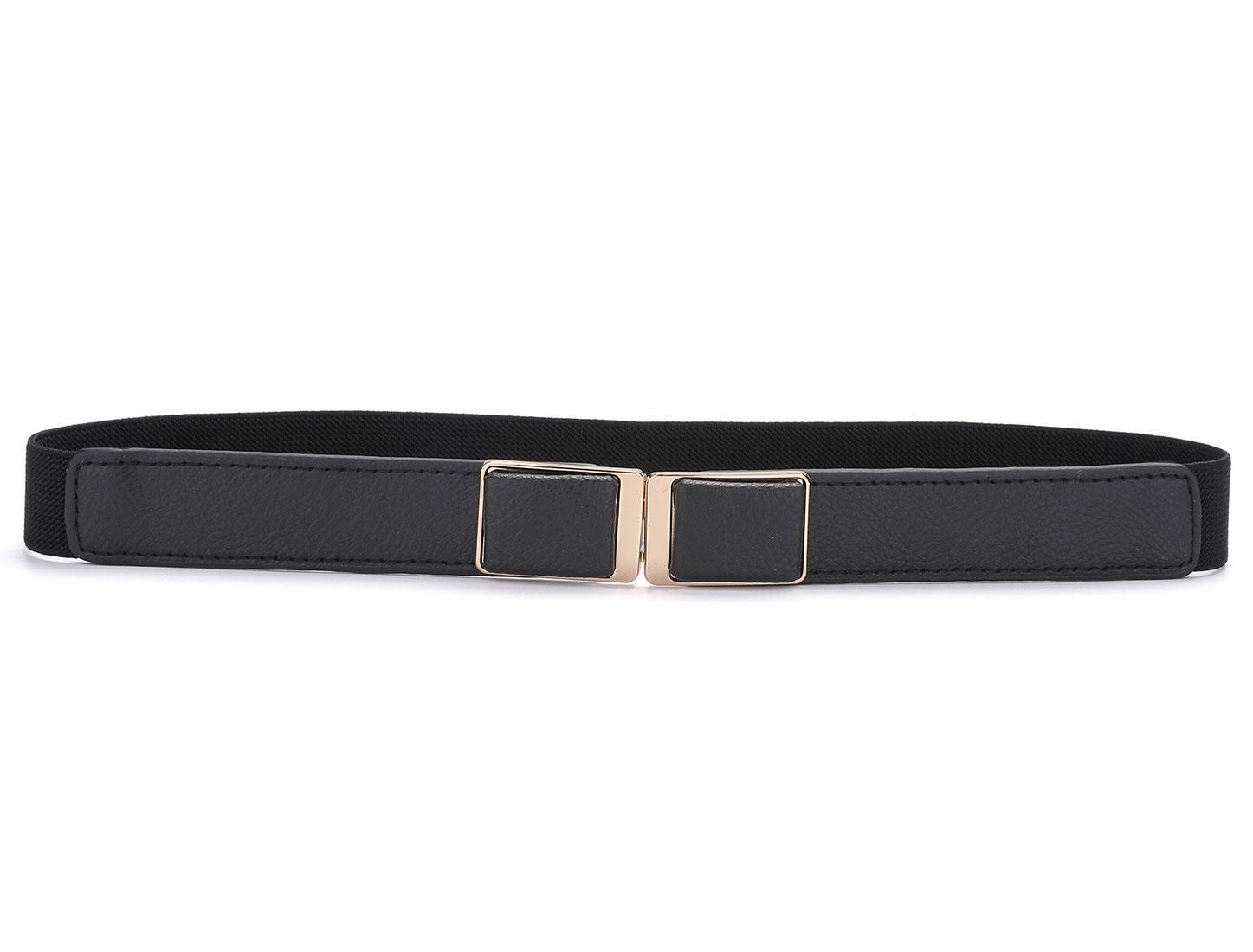 Woman Black Rectangle Design Metal Interlock Buckle Stretchy Waist Belt