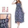 Lady Navy Blue Spaghetti Strap Pullover Design Mid-Calf Dress S