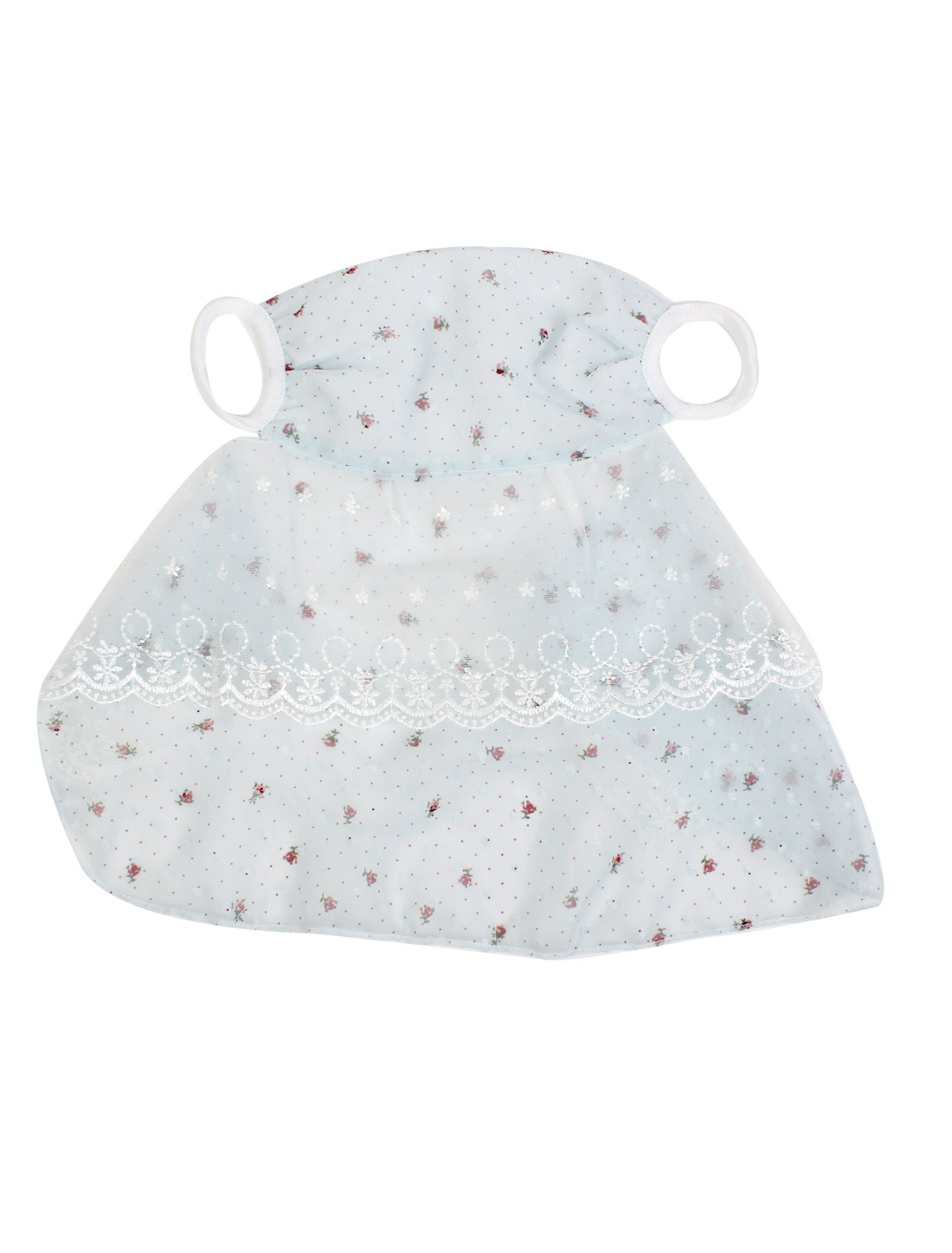 Ladies Lace Brim Dots Pattern Neck Protection Sun Protect Face Mask Baby Blue