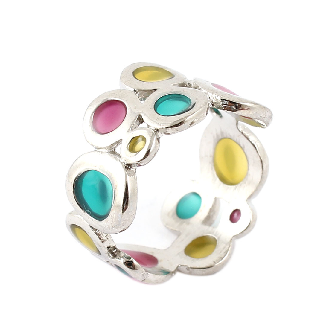 Circle Dots Detail Silver Tone Metallic Finger Ring for Ladies