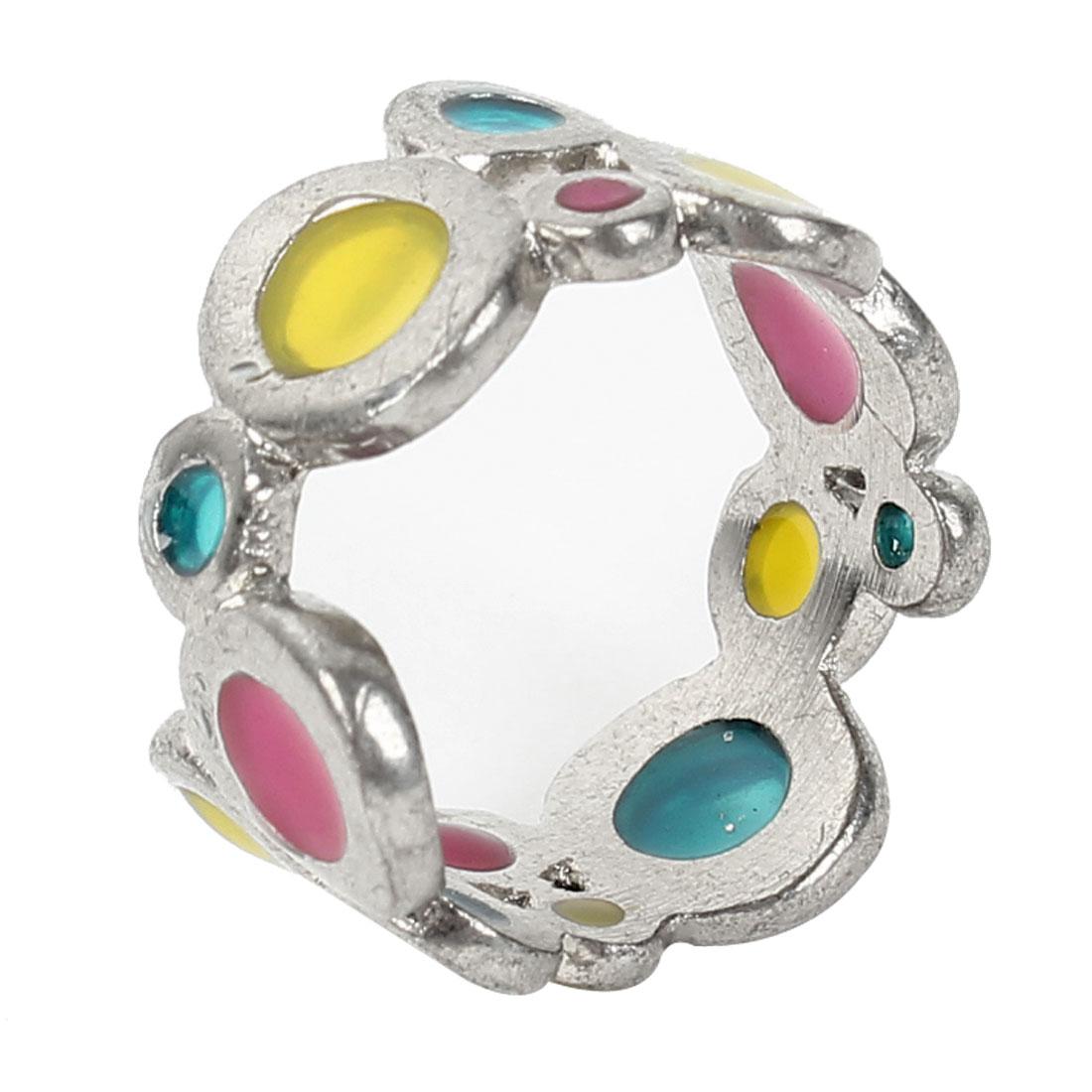 Fashion Plastic Rhinestone Detail Silver Tone Metal Finger Ring US 8 for Ladies