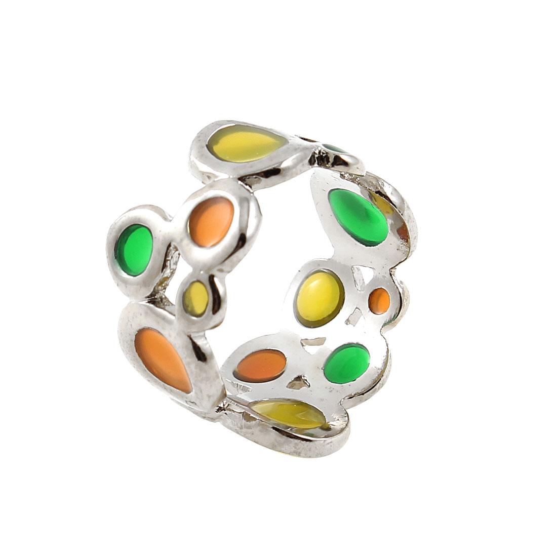 Fashion Circle Dots Detail Silver Tone Metal Finger Ring US 5 for Ladies