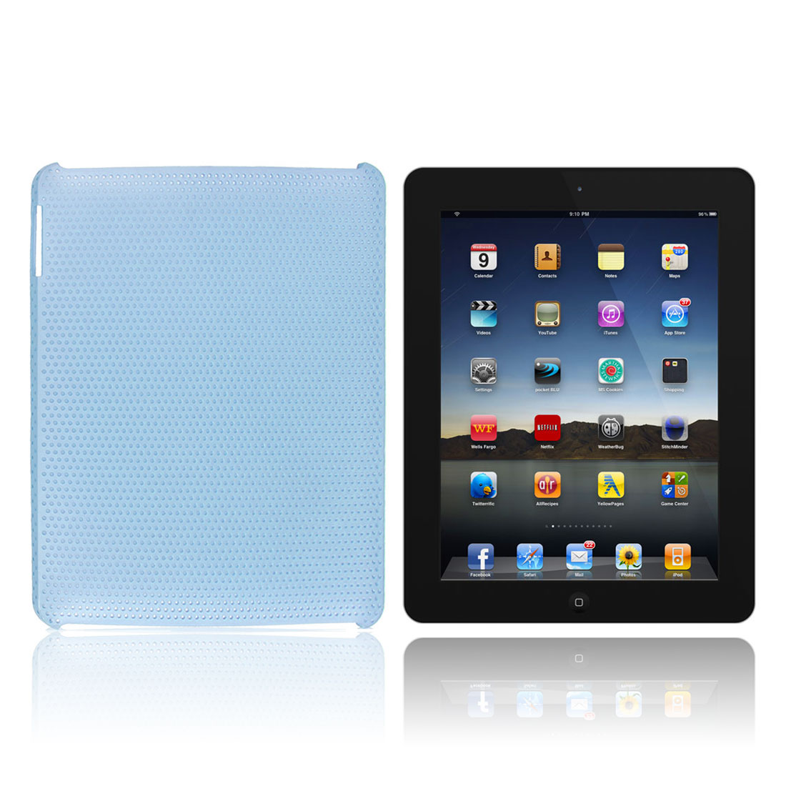 Perforated Mesh Net Hard Plastic Back Case Skin Cover Light Blue for iPad 2 3 4