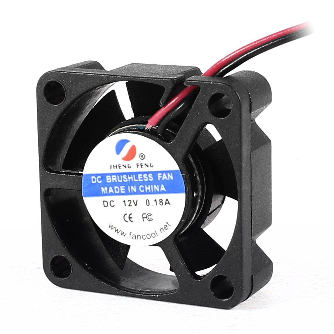 30mm x 10mm 2 Terminals 12V 0.18A DC Brushless Chipset Cooling Fan Black