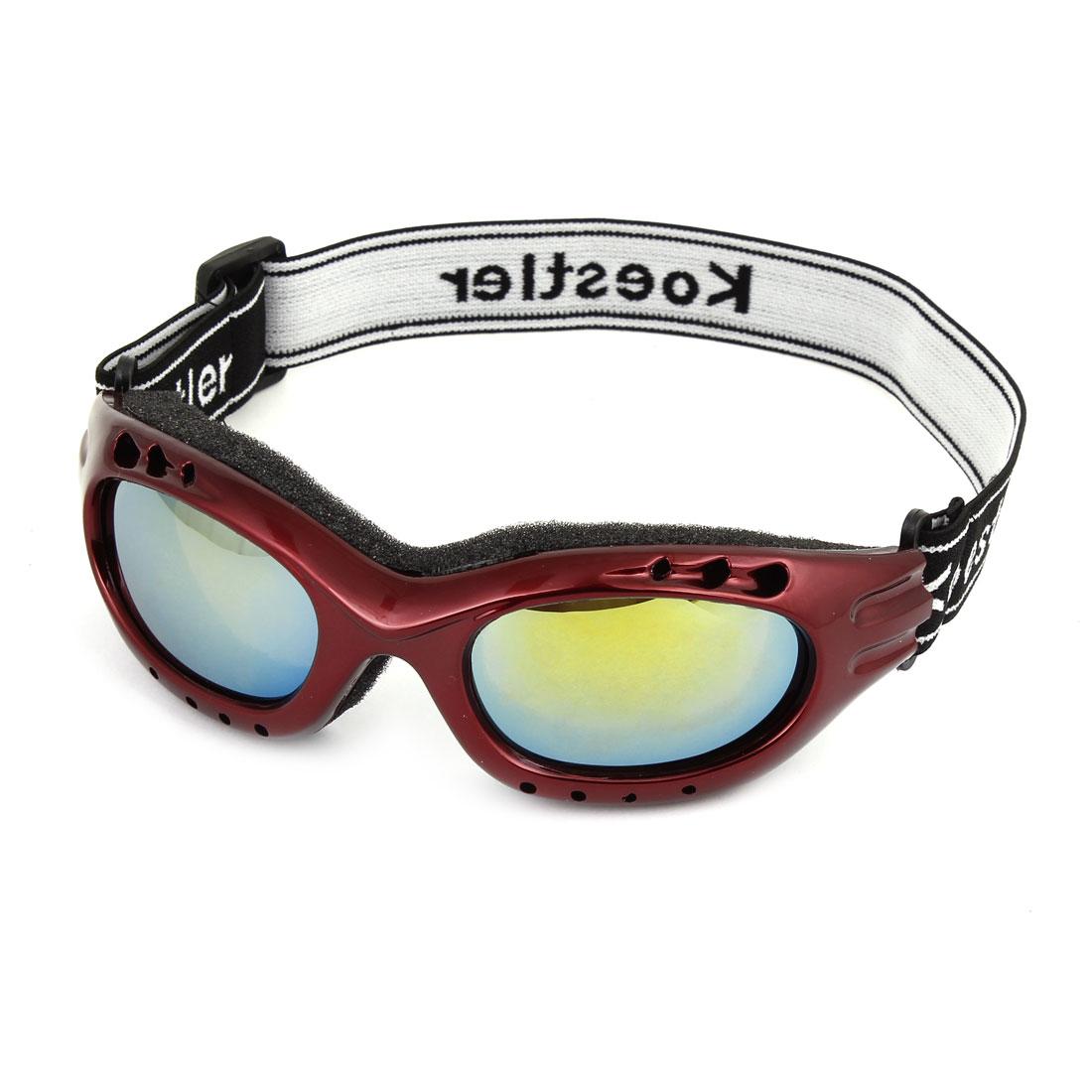 Unisex Black Adjustable Strap Windproof Eye Protective Motorcycle Skiing Goggles Burgundy