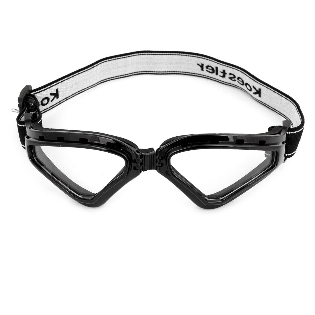 Unisex Plastic Full Frame Clear Lens Motorbike Snowboarding Goggles Black
