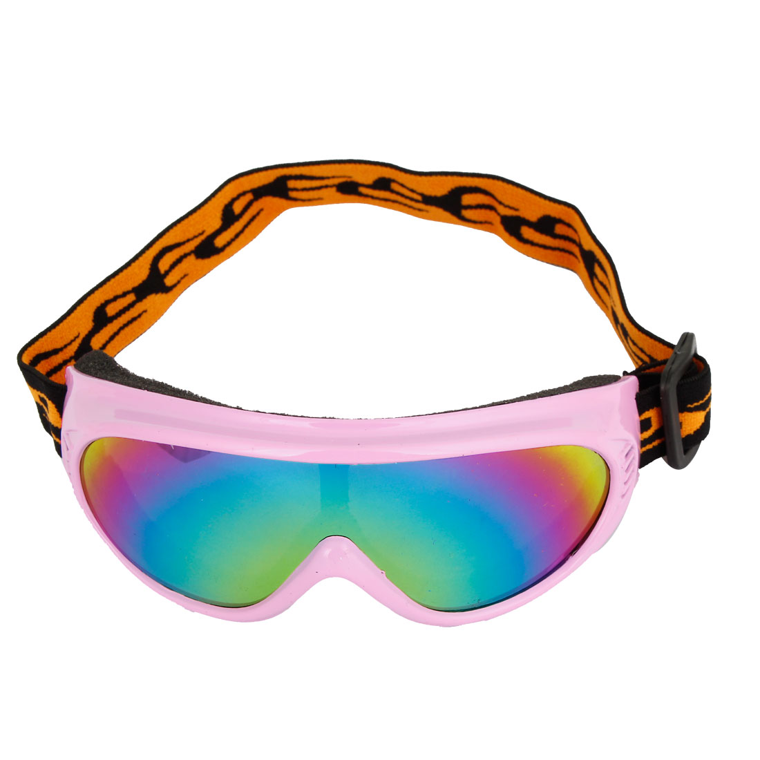 Unisex Pink Full Frame Colorful Lens Motorbike Snowboarding Eye Protector Goggles
