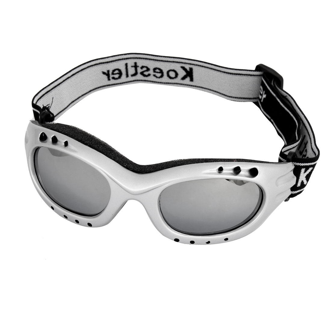 Unisex Black Adjustable Strap Windproof Eye Protective Motorcycle Skiing Goggles Gray