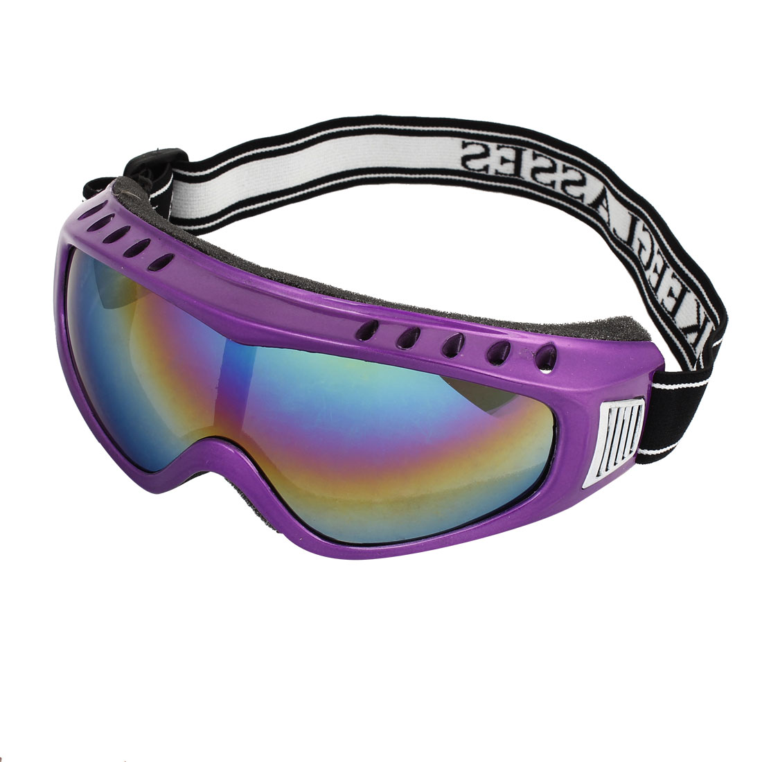 Colorful Lens Purple Full Rimmed Sponge Loaded Motorbike Safety Goggles Glasses Black