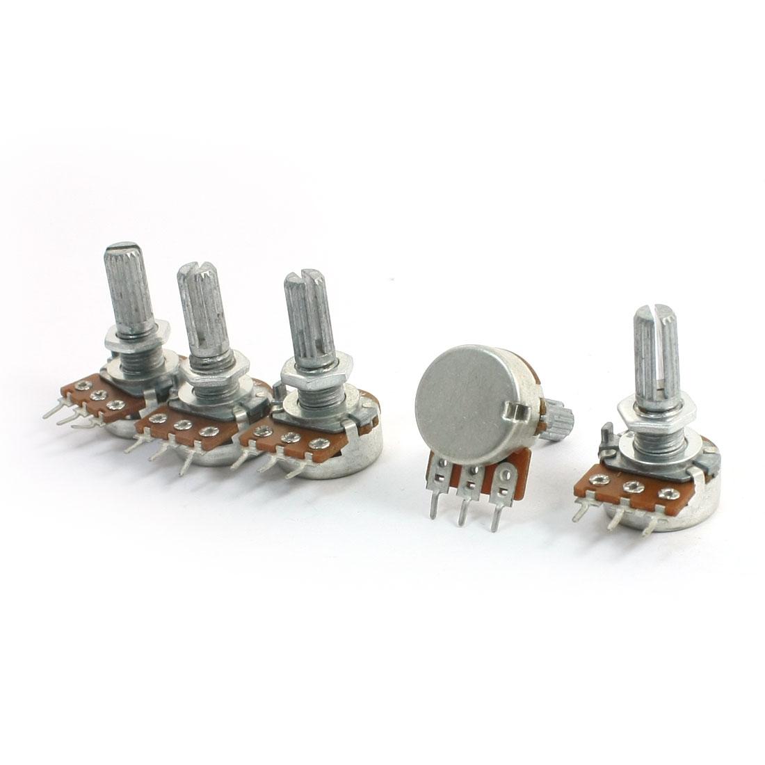 5Pcs B500K 13mm Rotating Metal Shaft 3 Soldering Terminals Taper Potentiometers