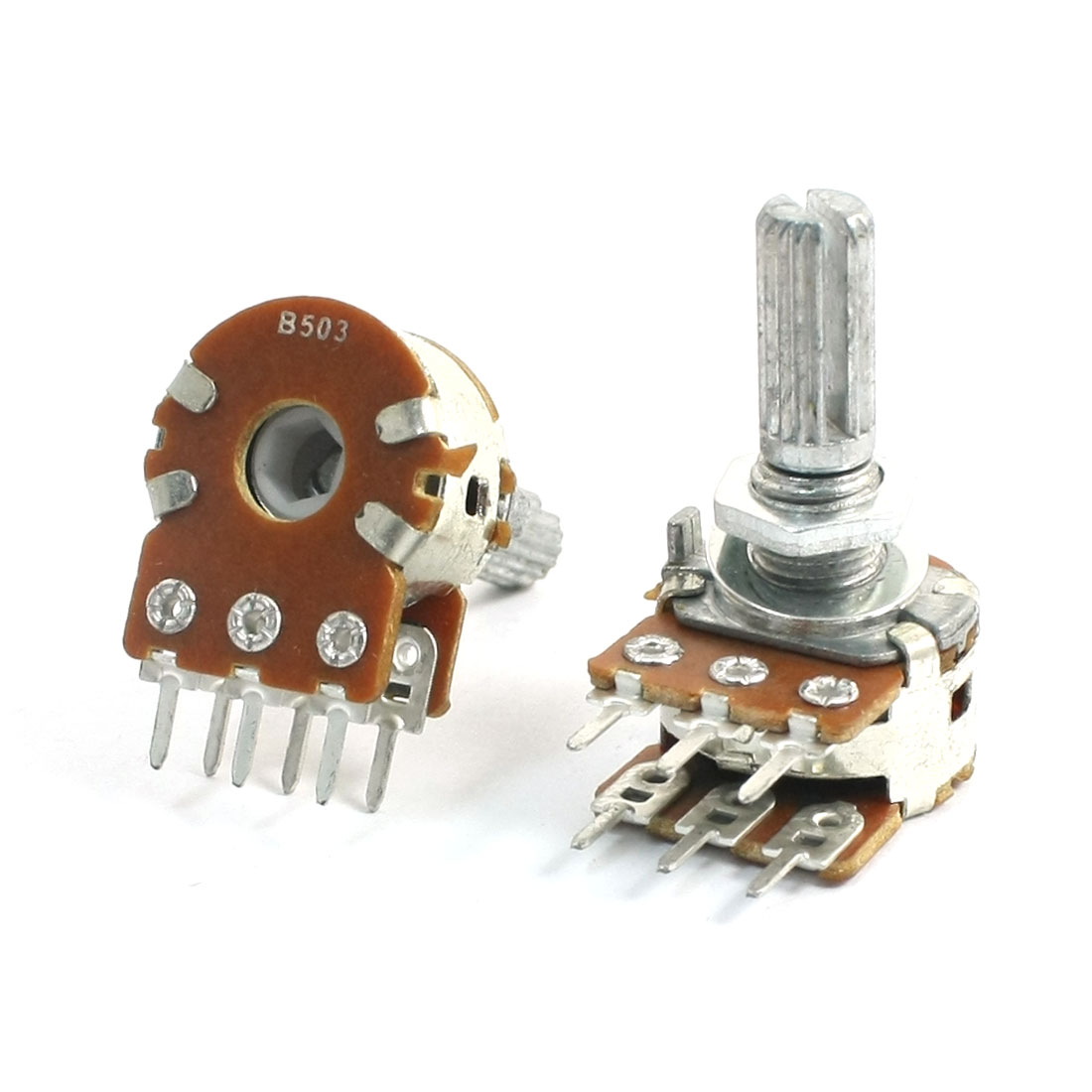 2Pcs B503 50K Ohm Adjustable 13mm Shaft PCB Mounted Linear Dual Potentiometer