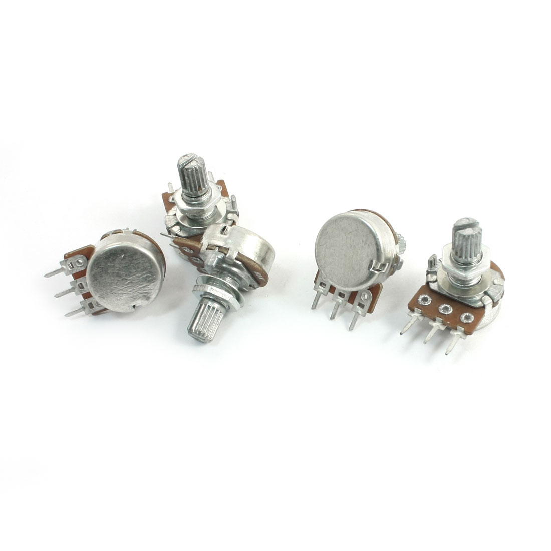 5Pcs B5K 3 Terminals Rotary Audio Single Linear Taper Potentiometers