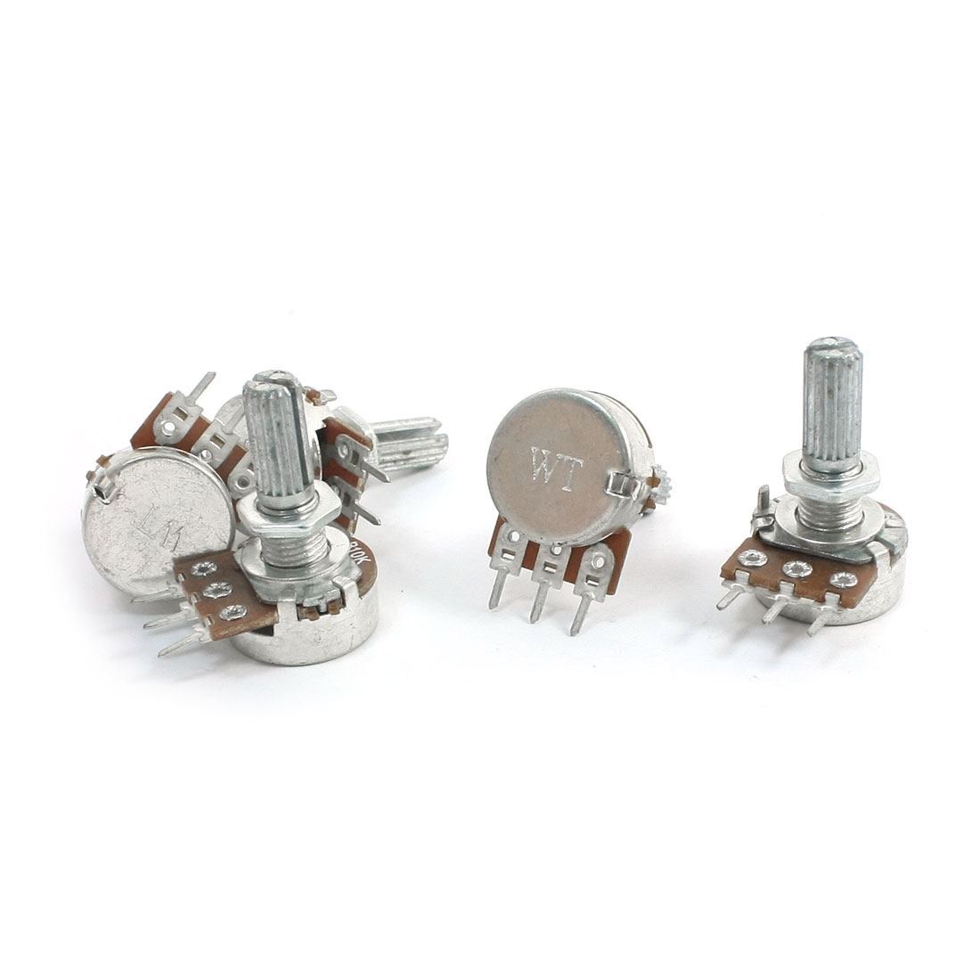 5 Pcs B10K 10K Ohm 13mm Metal Shaft Rotary Single Linear Taper Potentiometers