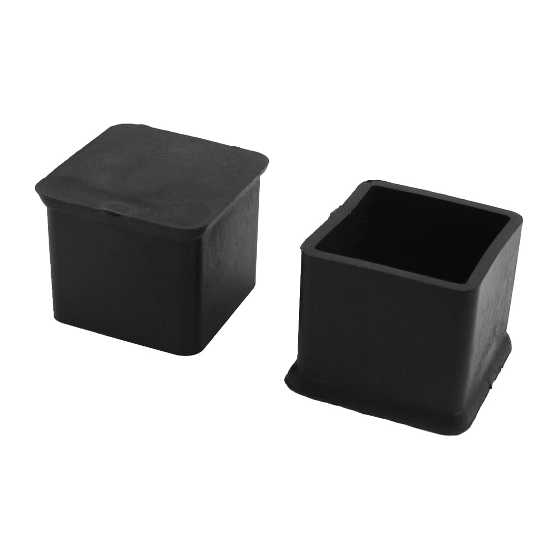 25mmx25mm Square Furniture Leg Protection Rubber Chair Feet Ferrules Black 2Pcs