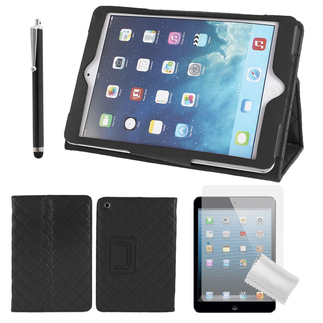Black PU Leather Magnetic Folio Stand Cover Case + Protective Film + Stylus Pen for iPad Mini