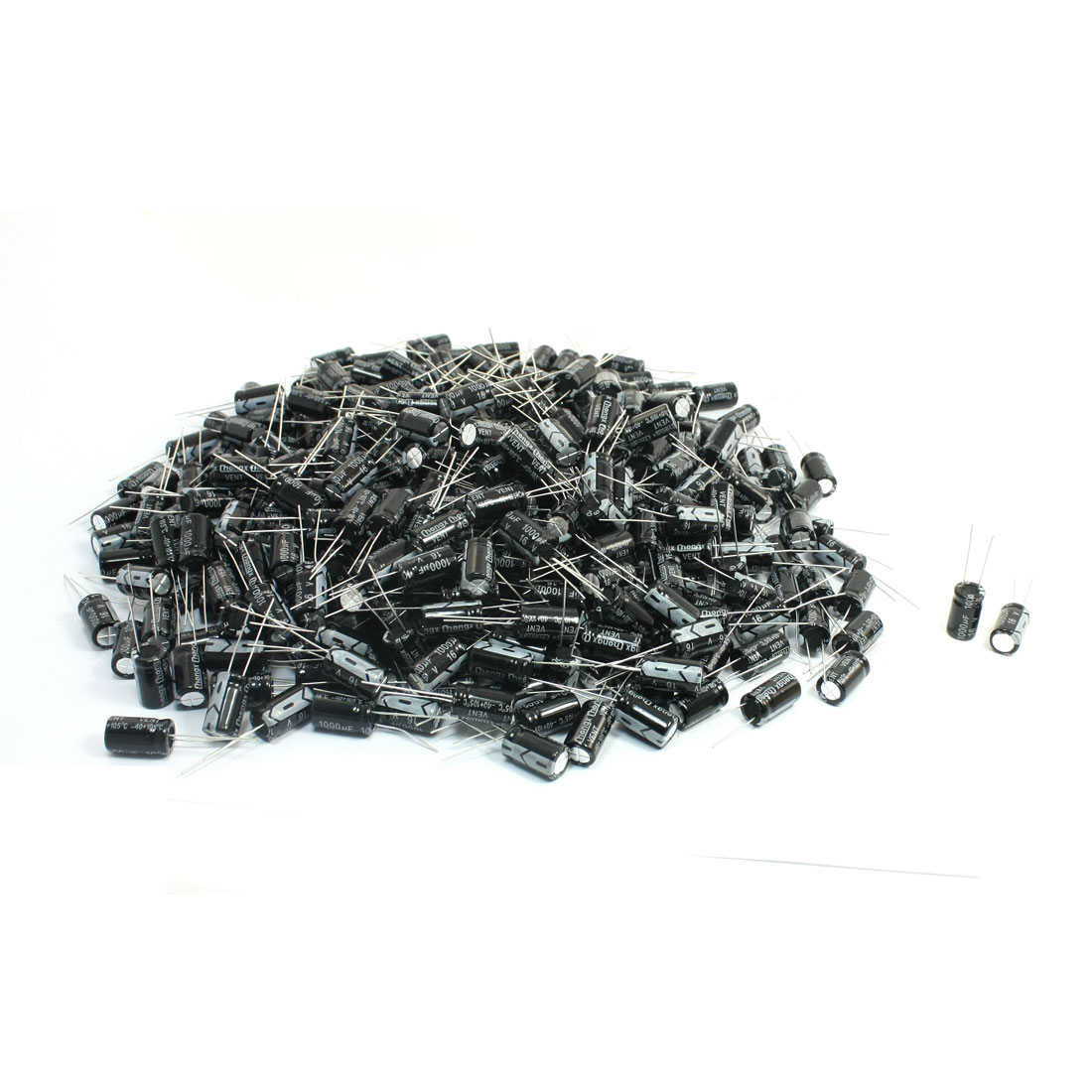 Black Aluminum 16V 1000uF 17mm x 10mm Electrolytic Capacitors 500Pcs
