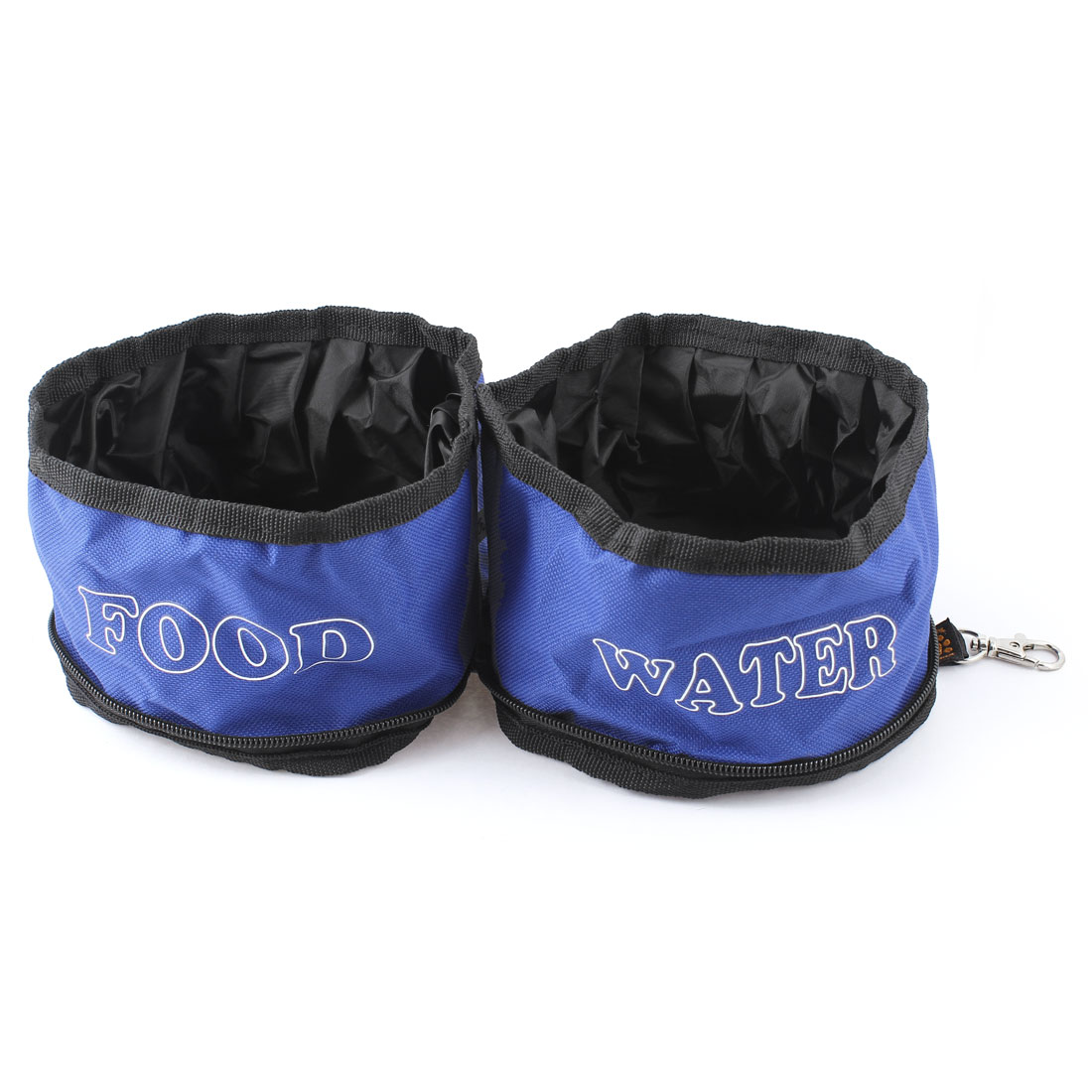 Traveling Camping Hiking Travel Blue Black Letter Pattern Double Food Water Bowl for Pet Doggie Cat