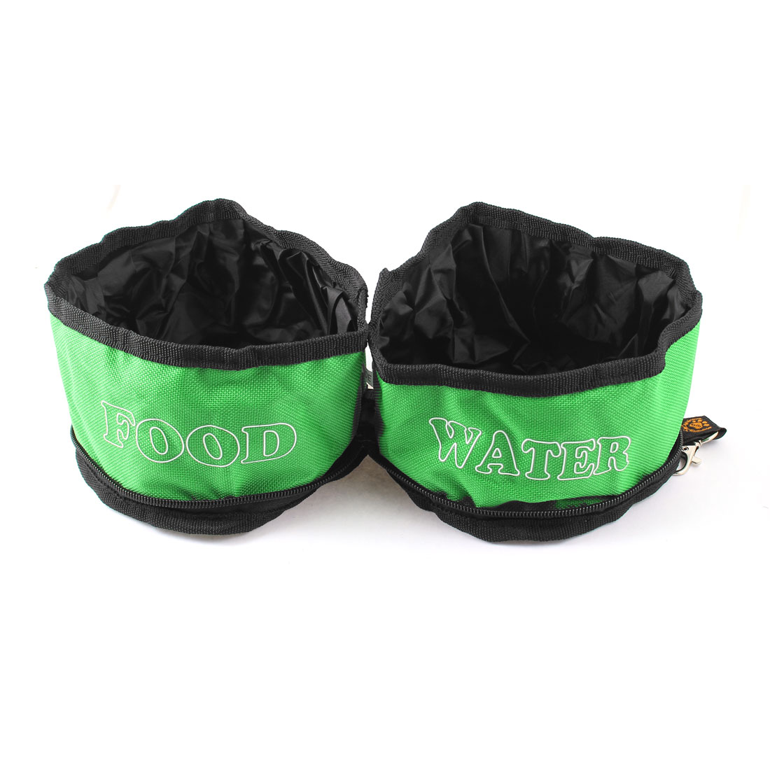 Traveling Camping Hiking Travel Green Black Letter Pattern Double Food Water Bowl for Pet Doggie Cat