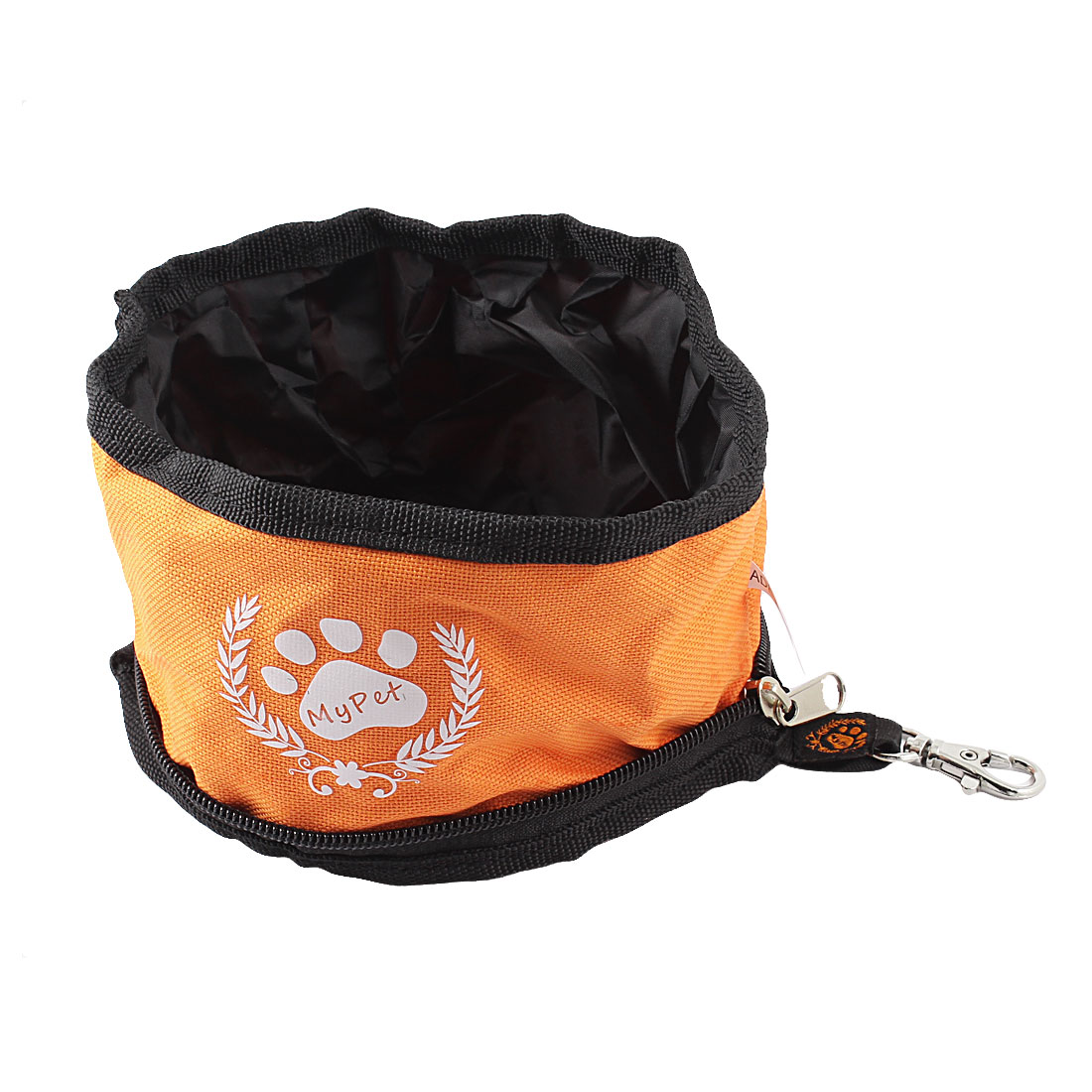 Traveling Camping Hiking Travel Letter Pattern Orange Pet Dog Cat Food Water Bowl w Lobster Clasp