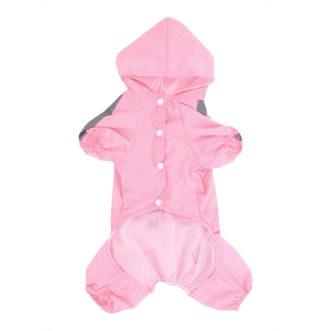 Press Stud Button Hoodie Pet Dog Yorkie Cat Raincoat Rainwear Pink XXS