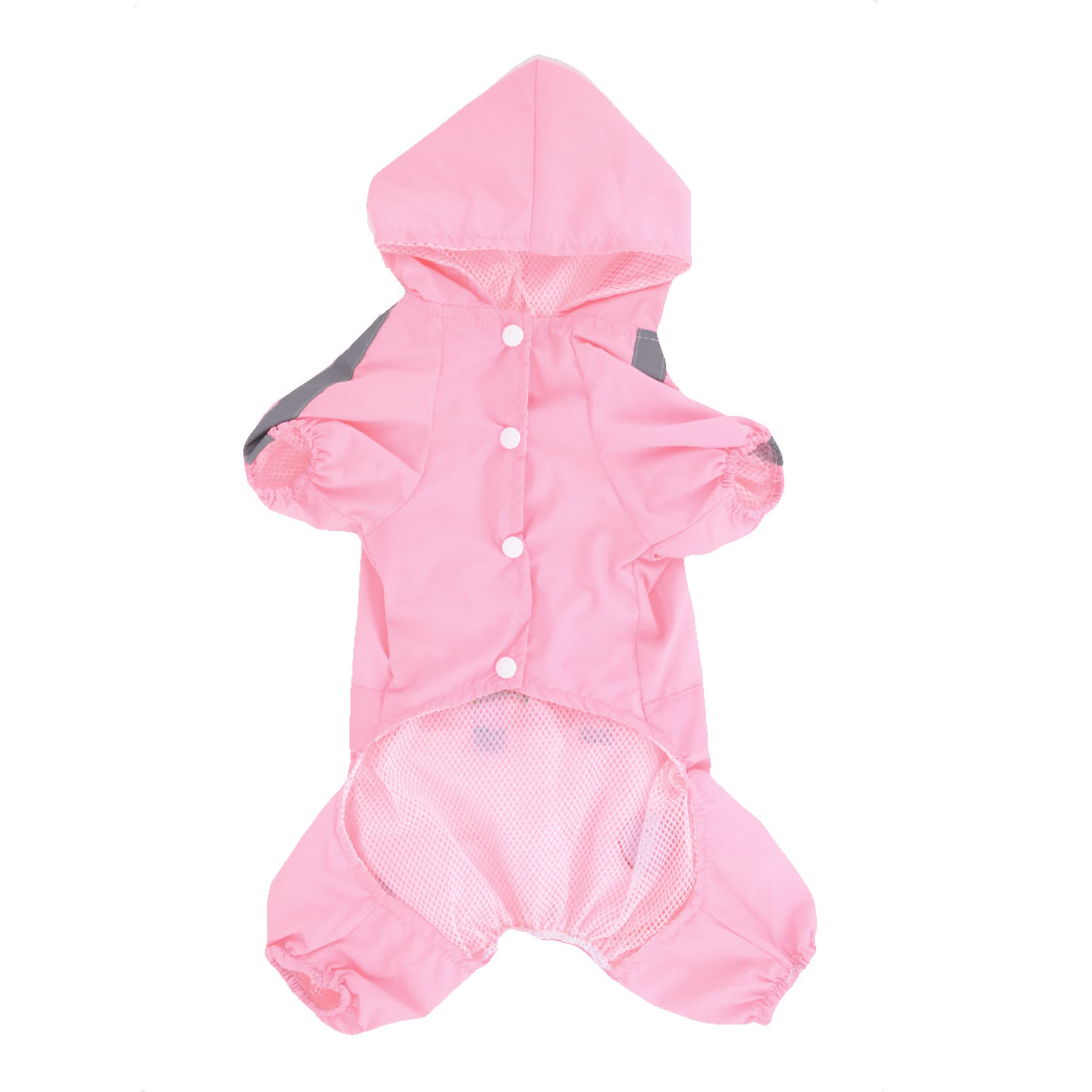 Pet Dog Yorkie Single Breasted Hooded Raincoat Poncho Rainwear Pink XS