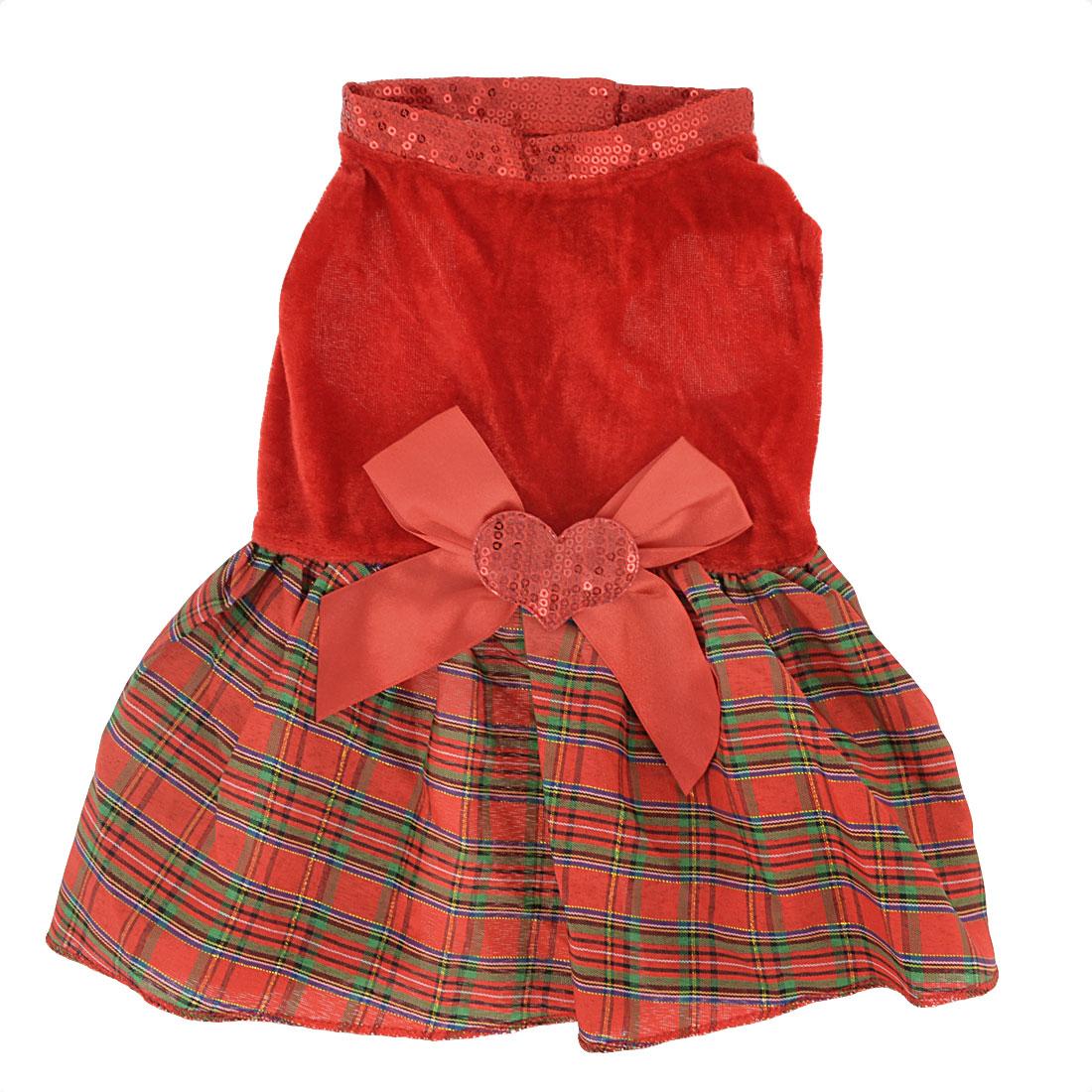 Bowknot Heart Detail Plaid Printed Pet Dog Yorkie Apparel Dress Skirt Red XS