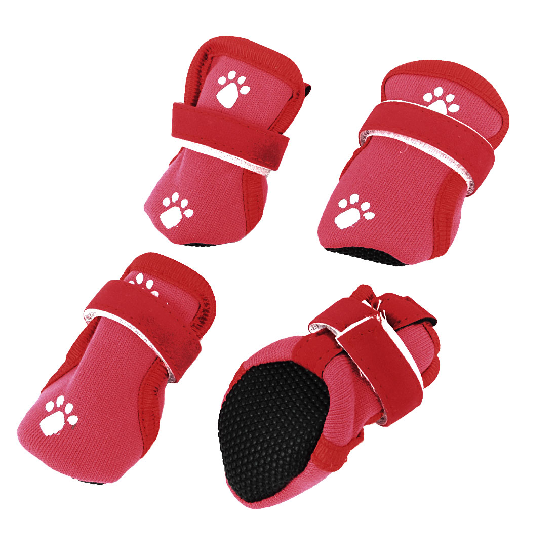 2 Pairs Paw Pattern Detachable Closure Pet Dog Puppy Booties Shoes Red XXS